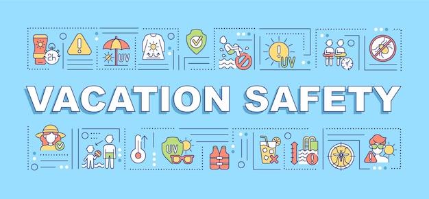 Bandeira de conceitos de palavra de segurança de férias. abordagem de segurança solar. evite picadas de insetos.