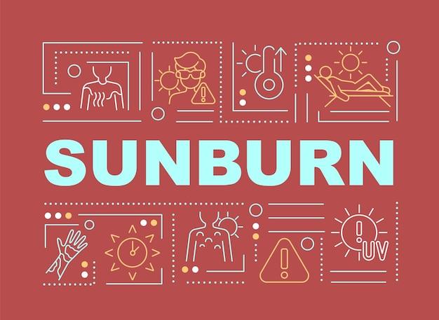 Bandeira de conceitos de palavra queimadura solar. exposição ao sol. usar roupas leves. infográficos com ícones lineares sobre fundo vermelho. tipografia criativa isolada. ilustração de cor de contorno vetorial com texto