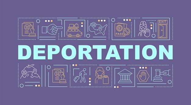 Bandeira de conceitos de palavra violeta de deportação. remoção oficial do país. infográficos com ícones lineares em fundo roxo. tipografia criativa isolada. ilustração de cor de contorno vetorial com texto