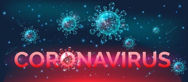Bandeira de conscientização de doença de coronavírus, prevenção de infecções perigosas, aviso, ilustração.