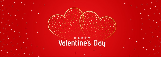 Bandeira de corações românticos dourado lindo vermelho