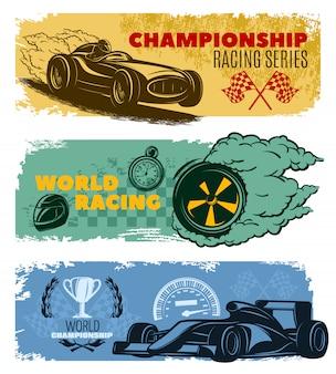 Bandeira de corrida horizontal colorida três definida com títulos campeonato de corrida série world racing e ilustração em vetor campeonato mundial