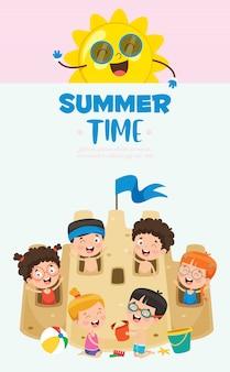 Bandeira de crianças de verão