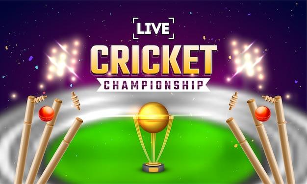 Bandeira de cricket ao vivo ou design de cartaz