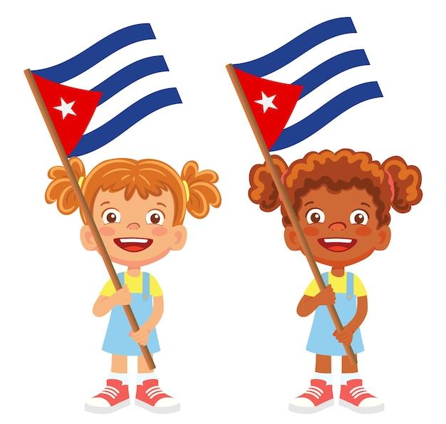 Bandeira de cuba na mão. crianças segurando uma bandeira. vetor da bandeira nacional de cuba