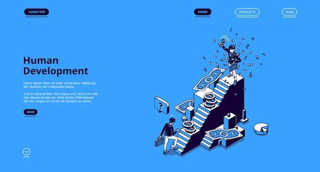 Bandeira de desenvolvimento humano. conceito de auto-construção de carreira empresarial