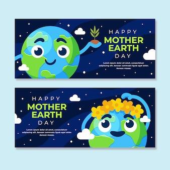 Bandeira de dia da mãe terra design plano coroa de flores