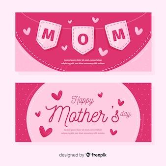 Bandeira de dia das mães mão desenhada galhardetes