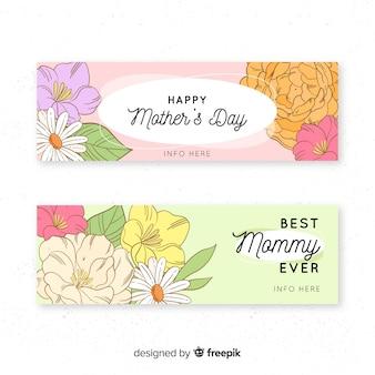 Bandeira de dia de mãe de buquê de flor