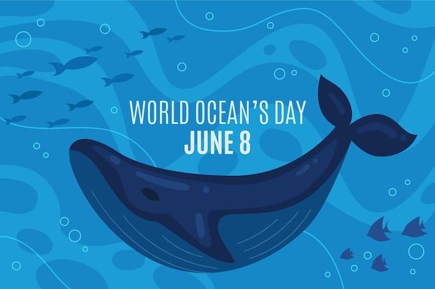 Bandeira de dia de oceanos mundo design plano