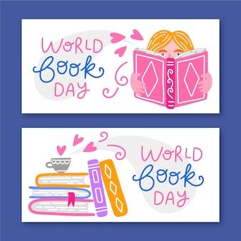 Bandeira de dia mundial do livro mão desenhada
