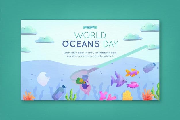 Bandeira de dia mundial dos oceanos design aquarela