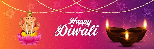 Bandeira de diwali feliz com festival de luz