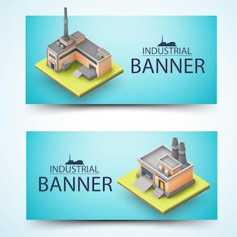 Bandeira de dois edifícios amarelos 3d horizontais com itens industriais em fundo azul