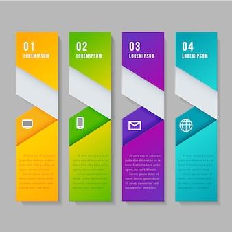 Bandeira de elemento infográfico moderno.