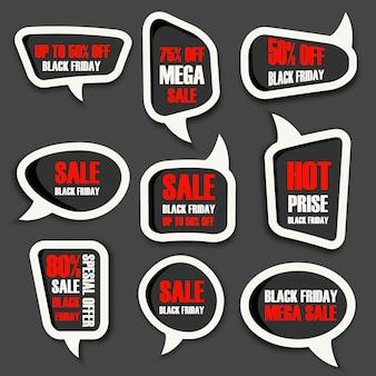 Bandeira de emblemas e etiquetas de venda de sexta-feira negra oferece vetor. conceito de negócio de promoção de publicidade de sexta-feira negra de ilustração vetorial. banner de etiqueta de preço oferta design de pôster rótulo preto sexta-feira