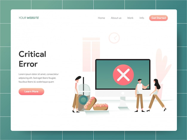 Bandeira de erro crítico de computador da página de destino
