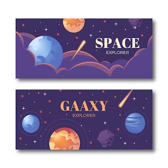 Bandeira de espaço realista conjunto com paisagem do universo.