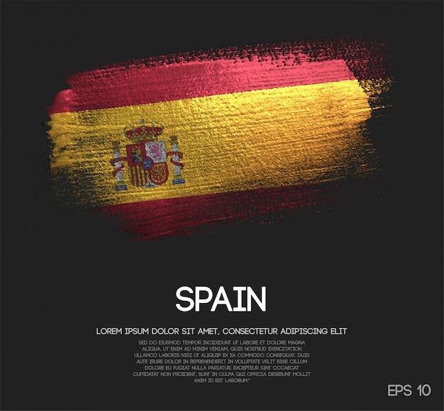 Bandeira de espanha feita de tinta de pincel de brilho de brilho