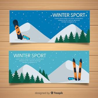 Bandeira de esporte de inverno de montanha