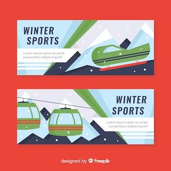 Bandeira de esporte de inverno funicular plana