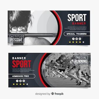 Bandeira de esporte plana com foto