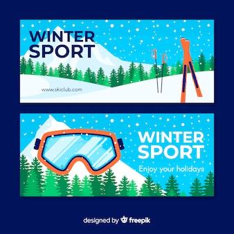 Bandeira de esqui de inverno