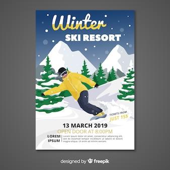 Bandeira de estância de esqui de inverno