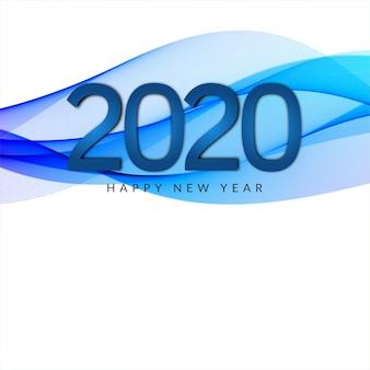 Bandeira de estilo de onda de ano novo de 2020