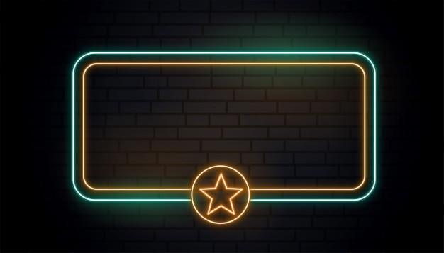 Bandeira de estrela de luz de néon em branco