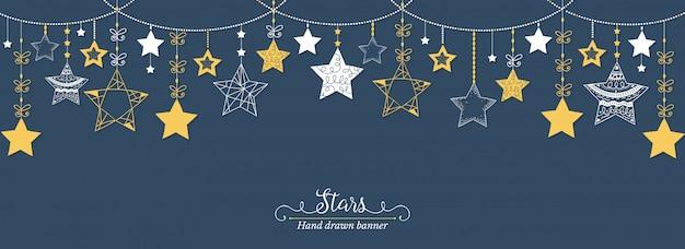 Bandeira de estrelas desenhadas de mão