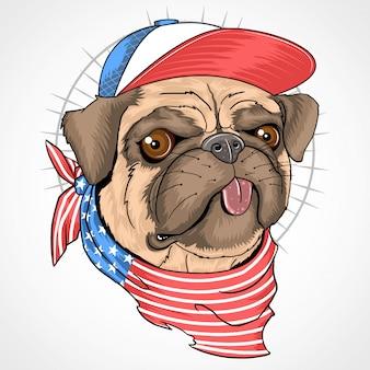 Bandeira de eua de cão pug
