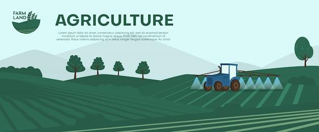 Bandeira de fazenda agricultura. trator que cultiva o campo na ilustração da mola.