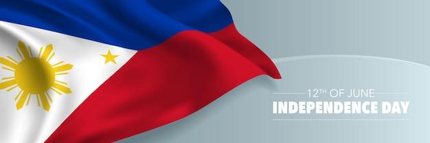Bandeira de feliz dia da independência de filipinas, cartão de felicitações.