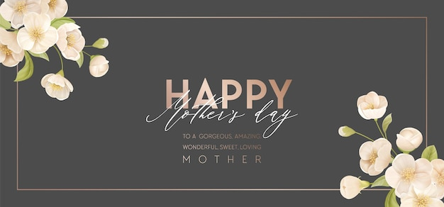 Bandeira de feriado do dia da mãe moderna. projeto de ilustração vetorial floral primavera. anúncio modelo realista de flores de cerejeira sakura. fundo de flores de verão, promoção de festa para mães, capa para mães