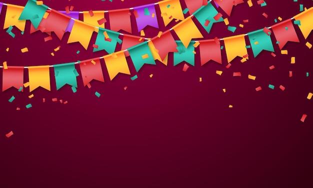 Bandeira de férias coloridas de modelo de design de conceito de confetes feliz dia, ilustração do vetor de celebração de fundo.
