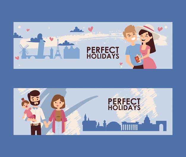 Bandeira de férias em família, viagem romântica do jovem casal
