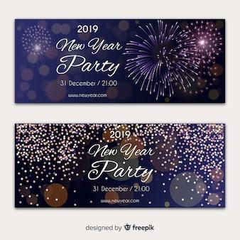 Bandeira de festa de ano novo de fogos de artifício realista