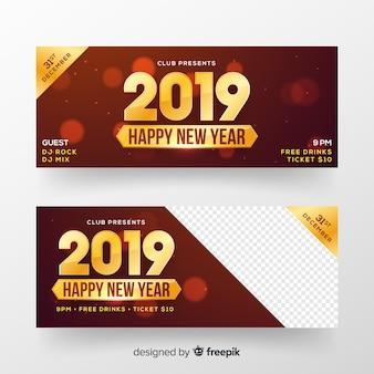 Bandeira de festa de ano novo número dourado