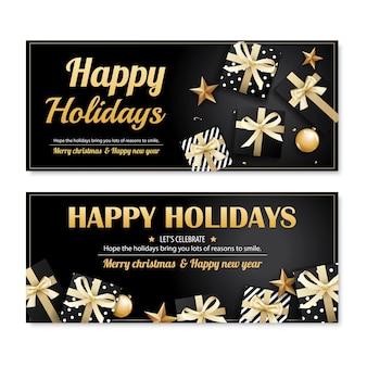 Bandeira de festa de natal feliz convite e modelo de cartão