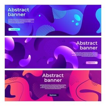 Bandeira de formas fluidas abstrata, fluxo de forma suavemente líquida, gradiente de respingo de cor e conjunto de banners horizontais coloridos