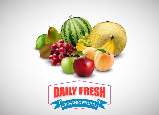 Bandeira de frutas orgânicas frescas diárias