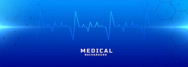Bandeira de fundo azul médica e de saúde