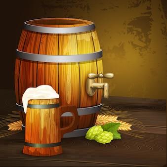 Bandeira de fundo de barril de caneca de carvalho de cerveja