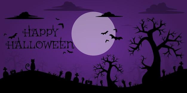Bandeira de fundo do dia das bruxas silhueta quadro dos desenhos animados