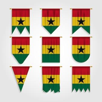 Bandeira de gana em diferentes formas, bandeira de gana em várias formas