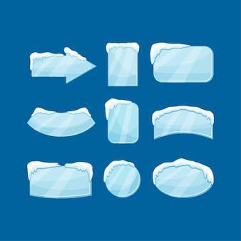 Bandeira de gelo de neve definir ilustração isolada. tags de decoração de inverno.