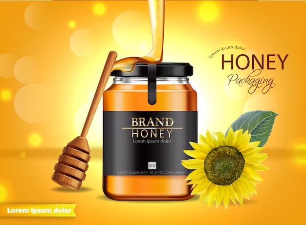 Bandeira de girassol e pote de mel