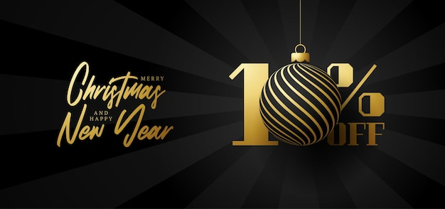 Bandeira de grande venda de feliz natal. venda de natal de luxo com 10% de desconto no modelo de banner real preto com uma bola dourada decorada pendurada em um fio. feliz ano novo e ilustração vetorial de natal