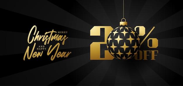Bandeira de grande venda de feliz natal. venda de natal de luxo com 20% de desconto no modelo de banner real preto com uma bola dourada decorada pendurada em um fio. feliz ano novo e ilustração vetorial de natal
